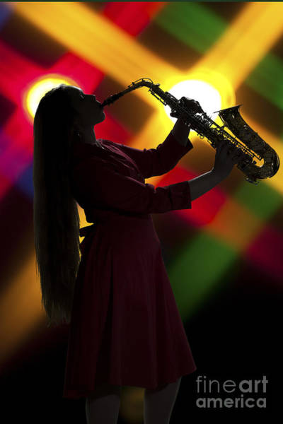 Photograph - Saxophone Girl On Stage In Silhouette In Color 3144.02 by M K Miller