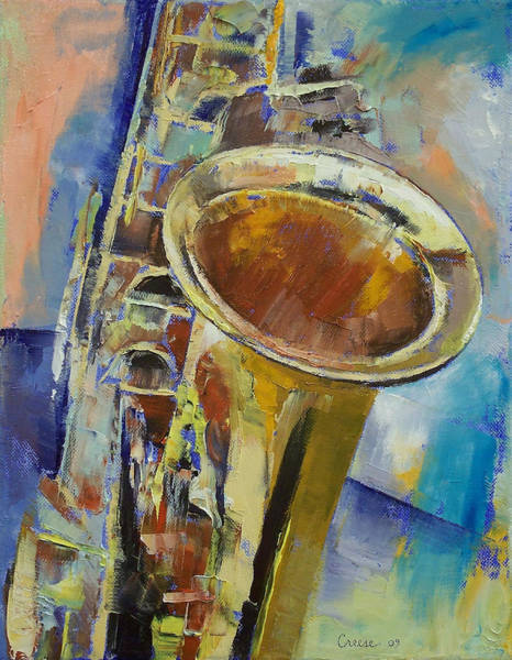 Arte Painting - Saxophone by Michael Creese