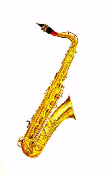 Musical Instrument Painting - Saxophone by Michael Vigliotti