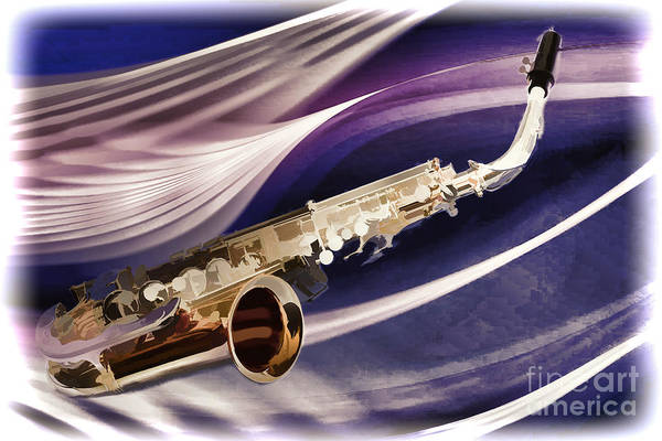 Painting - Saxophone Music In Space Painting In Color 3250.02 by M K Miller