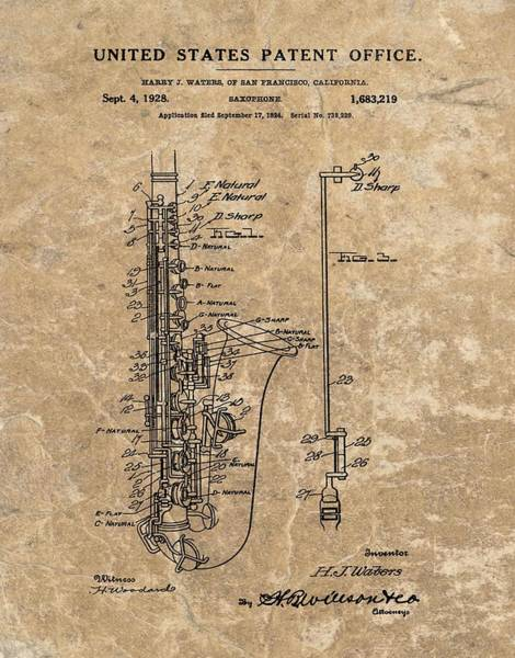 Cool Mixed Media - Saxophone Patent Design Illustration by Dan Sproul