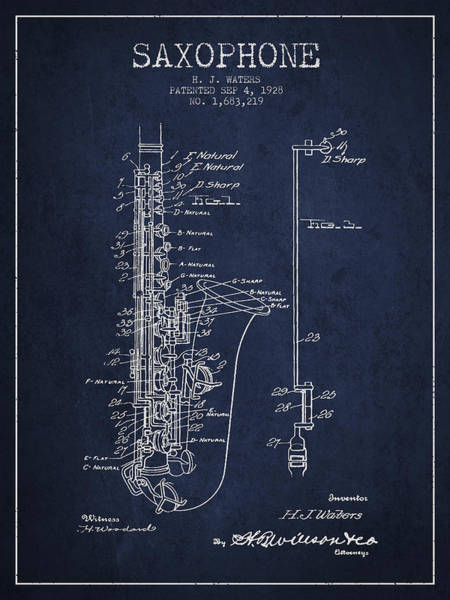 Patent Drawing Wall Art - Digital Art - Saxophone Patent Drawing From 1928 by Aged Pixel