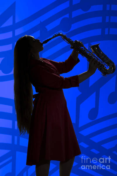 Photograph - Saxophone Playing Girl In Silhouette In Color 3143.02 by M K Miller