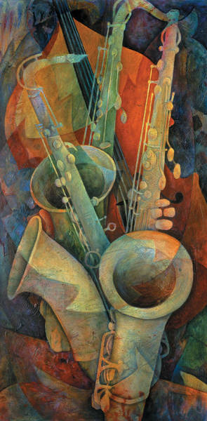 Wall Art - Painting - Saxophones And Bass by Susanne Clark