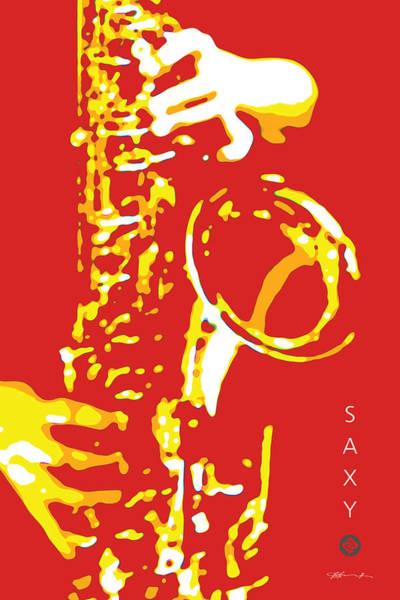 Digital Art - Saxy Red Poster by David Davies