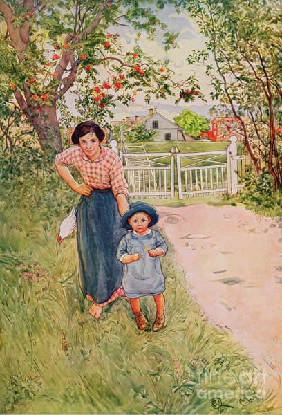White Picket Fence Painting - Say A Nice How Do You Do To Your Uncle by Carl Larsson