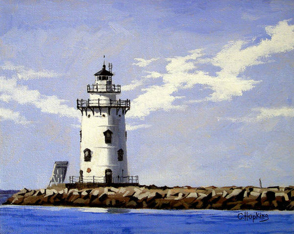 Wall Art - Painting - Saybrook Breakwater Lighthouse Old Saybrook Connecticut by Christine Hopkins