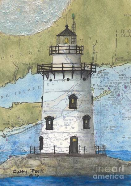 Wall Art - Painting - Saybrook Lighthouse Ct Cathy Peek Nautical Chart Map Art by Cathy Peek