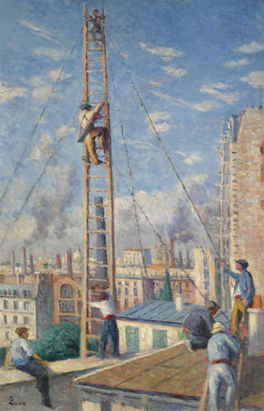 Scaffold Painting - Scaffolds Raising by Maximilien Luce