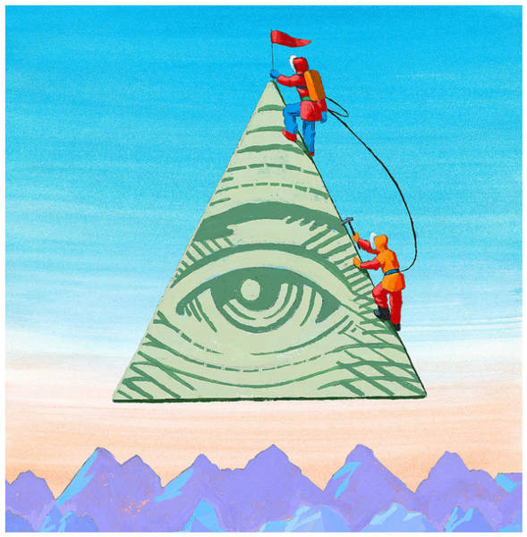 Scaling The Financial Pyramid Art Print by Jonathan Evans