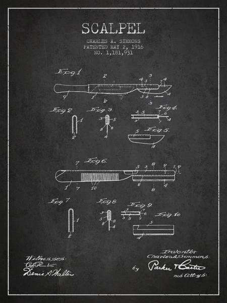 Device Digital Art - Scalpel Patent From 1916 - Dark by Aged Pixel