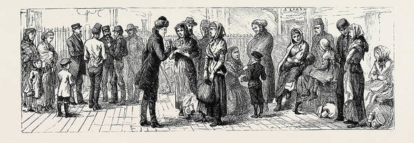 Railroad Station Drawing - Scandinavian Emigrants At The Railway Station by English School