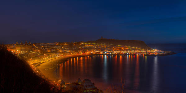 Photograph - Scarborough Night Lights At Sunrise by Dennis Dame