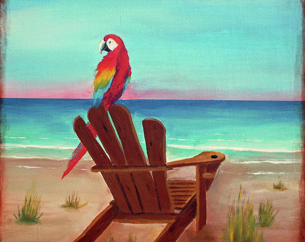 Wall Art - Painting - Scarlet Macaw At St Pete Beach by Gabriela Valencia