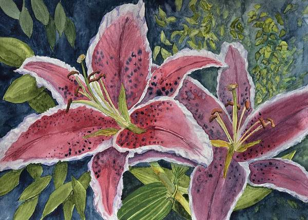 Wall Art - Painting - Scarlet Tiger Lilies  by Linda Brody