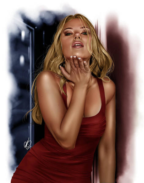 Painting - Scarlett Study by Pete Tapang