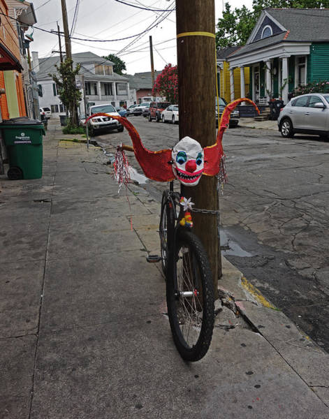 Scary Clown Bike In New Orleans Art Print