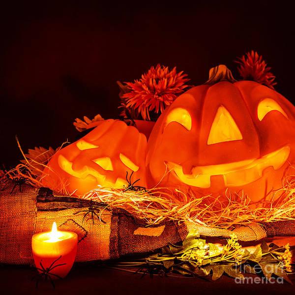 Cucurbit Photograph - Scary Pumpkin Halloween by Anna Om
