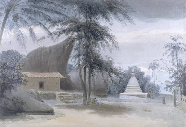 Palm House Photograph - Scene Between Galle And Matura, About Six Miles From Galle, C.1801 Wc & Bodycolour Over Graphite by Samuel Daniell