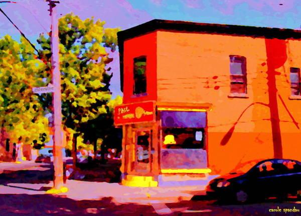 Diners Club Painting - Scene De Rue Psc Au Coin Rue Charlevoix Et Coleraine Paul Patates Resto Art De Carole Spandau by Carole Spandau