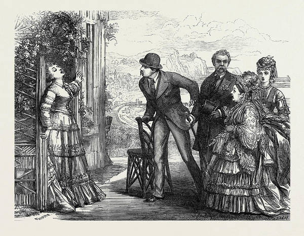 Old Style Drawing - Scene From Old Soldiers At The Strand Theatre 1873 by English School