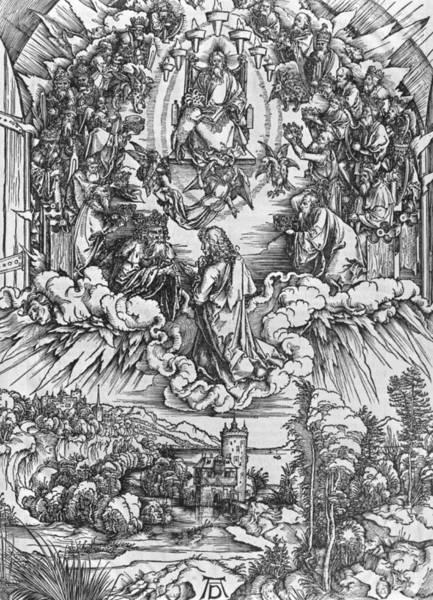 Albrecht Durer Wall Art - Painting - Scene From The Apocalypse by Albrecht Durer or Duerer