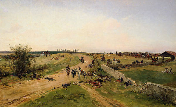 Cavalry Photograph - Scene From The Franco-prussian War Oil On Canvas by Alphonse Marie de Neuville