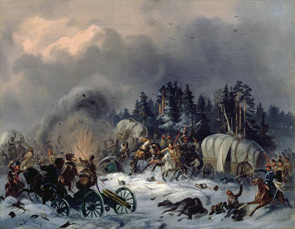Charge Photograph - Scene From The Russian-french War In 1812 Oil On Canvas by Bogdan Willewalde