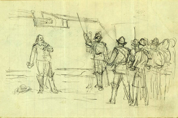 Wall Art - Drawing - Scene With Conquistadors, 1860-1865, Drawing, 1862-1865 by Quint Lox
