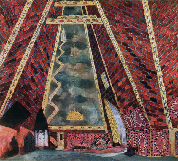 Beam Drawing - Scenery Design For Thamar, 1912 by Leon Bakst