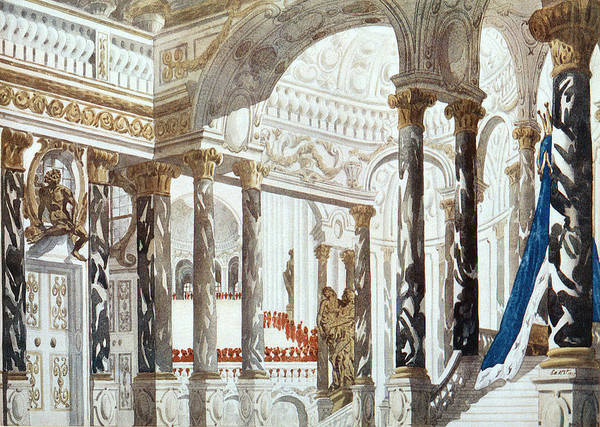 Columns Drawing - Scenery Design For The Baptism by Leon Bakst