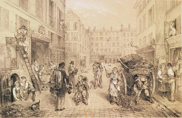 Lively Photograph - Scenes And Morals Of Paris, From Paris Qui Seveille, Printed By Lemercier, Paris Litho by French School