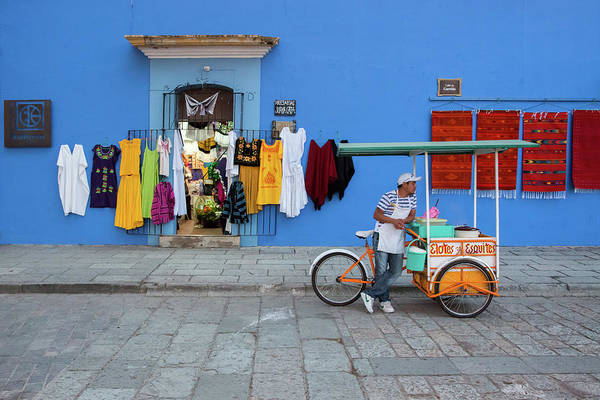 Apron Photograph - Scenes Of A Colorful Blue Wall by Dennis Walton