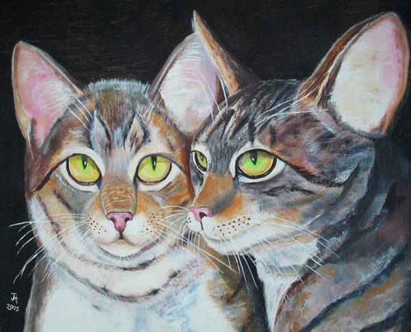 Painting - Scheming Cats by Thomas J Herring