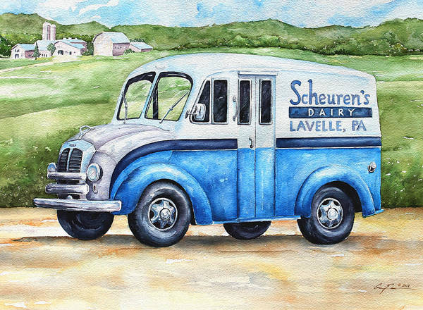 Dairy Painting - Scheuren's Dairy Delivery by Gary Evans