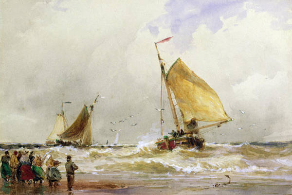 People Watching Painting - Schevenegen Beach by Thomas Hardy