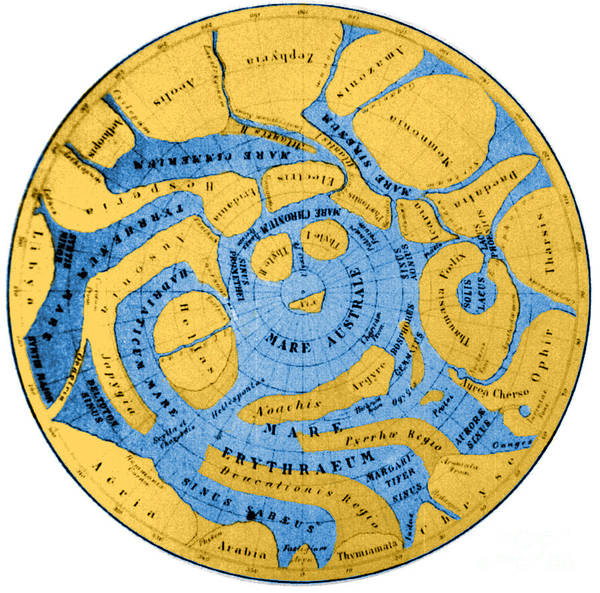 Photograph - Schiaparelli Mars Map 1877-78 by Science Source