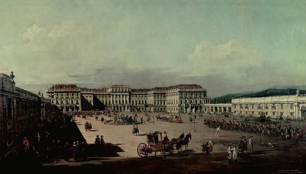 Chateau Photograph - Schloss Schonbrunn, 1759-60 Oil On Canvas by Bernardo Bellotto