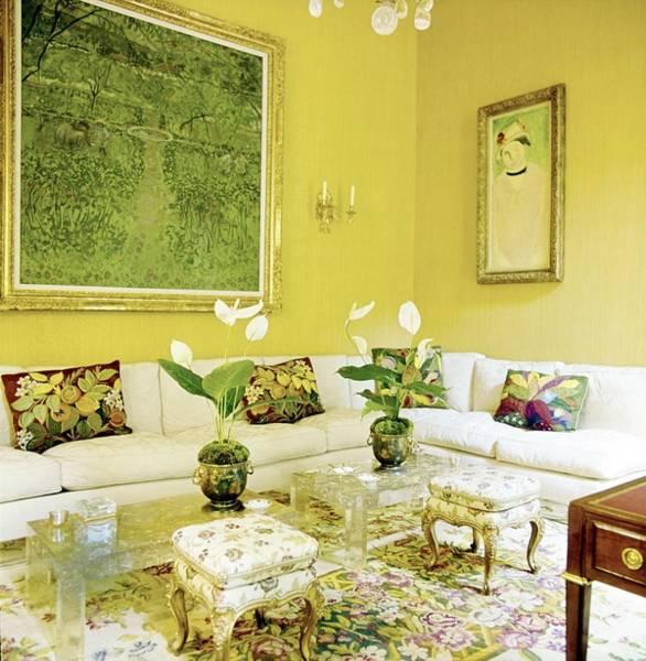 Yellow Flower Photograph - Schlumberger's Living Room by Horst P. Horst