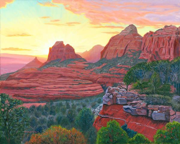 Sedona Arizona Wall Art - Painting - Schnebly Hill Sunset by Steve Simon