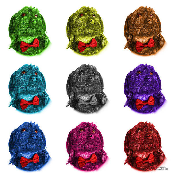 Painting - Schnoodle Pop Art 3687 - Wb - M by James Ahn
