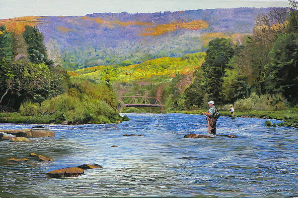 Catskills Painting - Schoharie Creek by Kenneth Young