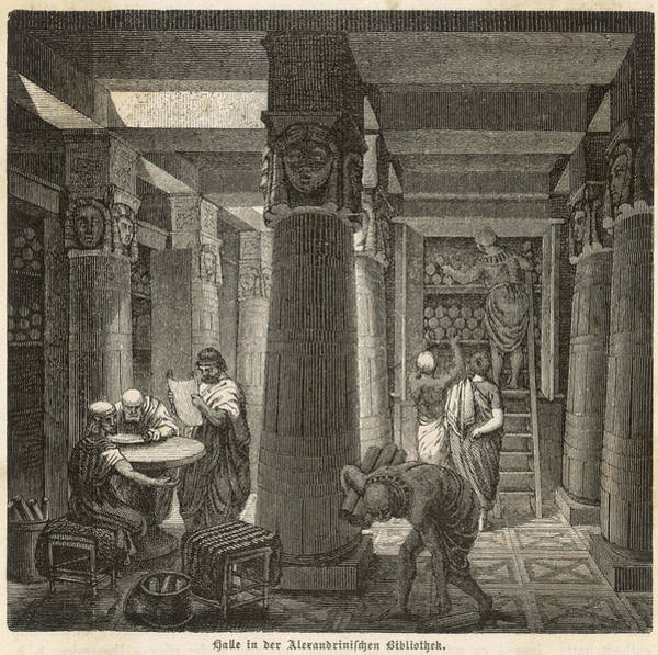 Ancient Egypt Drawing - Scholars Examine The Scrolls by Mary Evans Picture Library