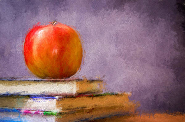 Impasto Photograph - School Apple by Georgiana Romanovna