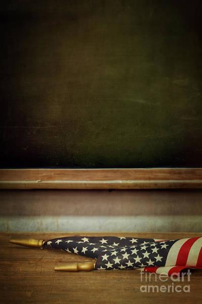 Photograph - School Blackboard With American Flag On Desk by Sandra Cunningham