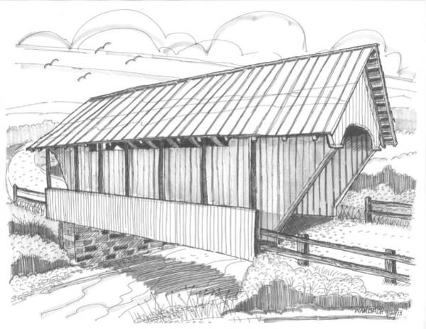 Drawing - School House Covered Bridge by Richard Wambach