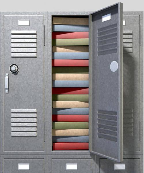 Fill Digital Art - School Locker Crammed Books by Allan Swart