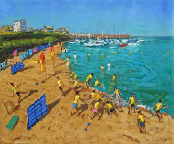 Macara Wall Art - Painting - School Outing New Quay Wales by Andrew Macara