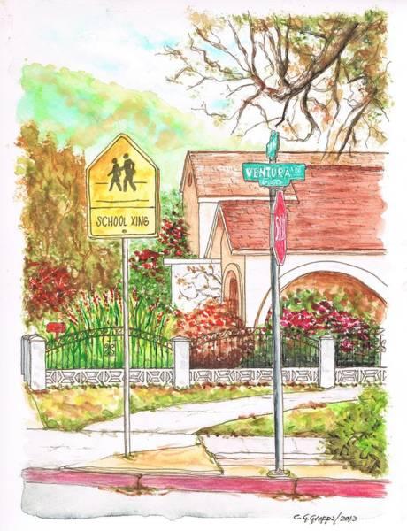 Paula Wall Art - Painting - School Xing Sign In Santa Paula, California by Carlos G Groppa