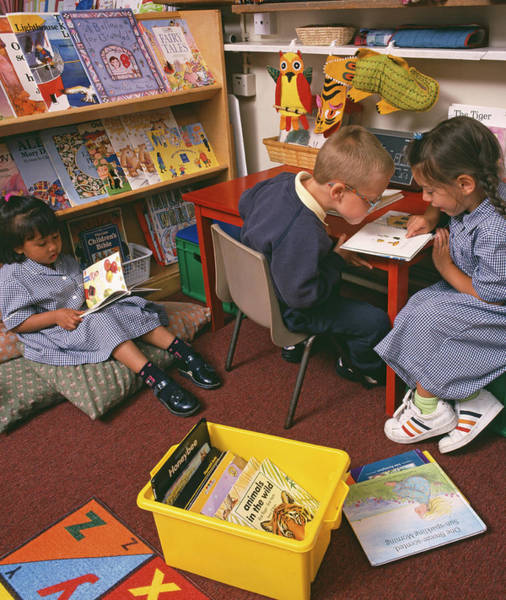 Classroom Photograph - Schoolchildren Reading by Martin Riedl/science Photo Library